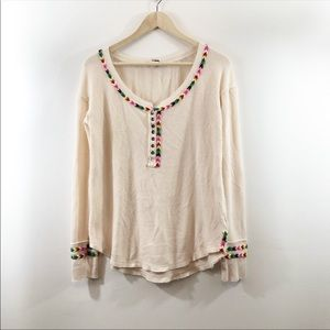 Free People Oversized Thermal Embroidered Top M